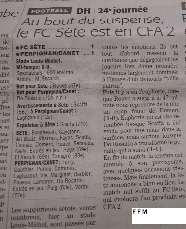CETTE ( SETE ) ILE SINGULIERE REVIENT EN ( CHAMPIONNAT  DE)  FRANCE DE FOOTBALL AMATEUR  CFA 2 !!!!!!! 123579P1280699