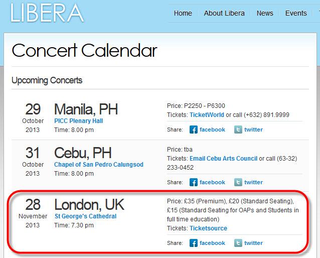 """""""Christmas Concert"""" à St. George, Londres, jeudi 28 novembre 2013 132179Eventpage"""