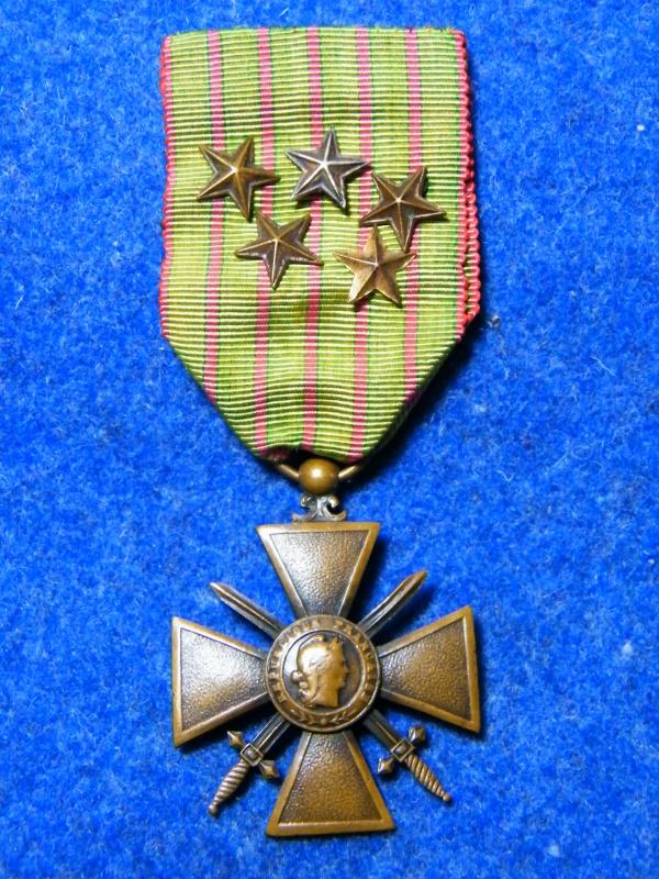 croix de guerre 14/15 5 citations ruban vert clair 133577021