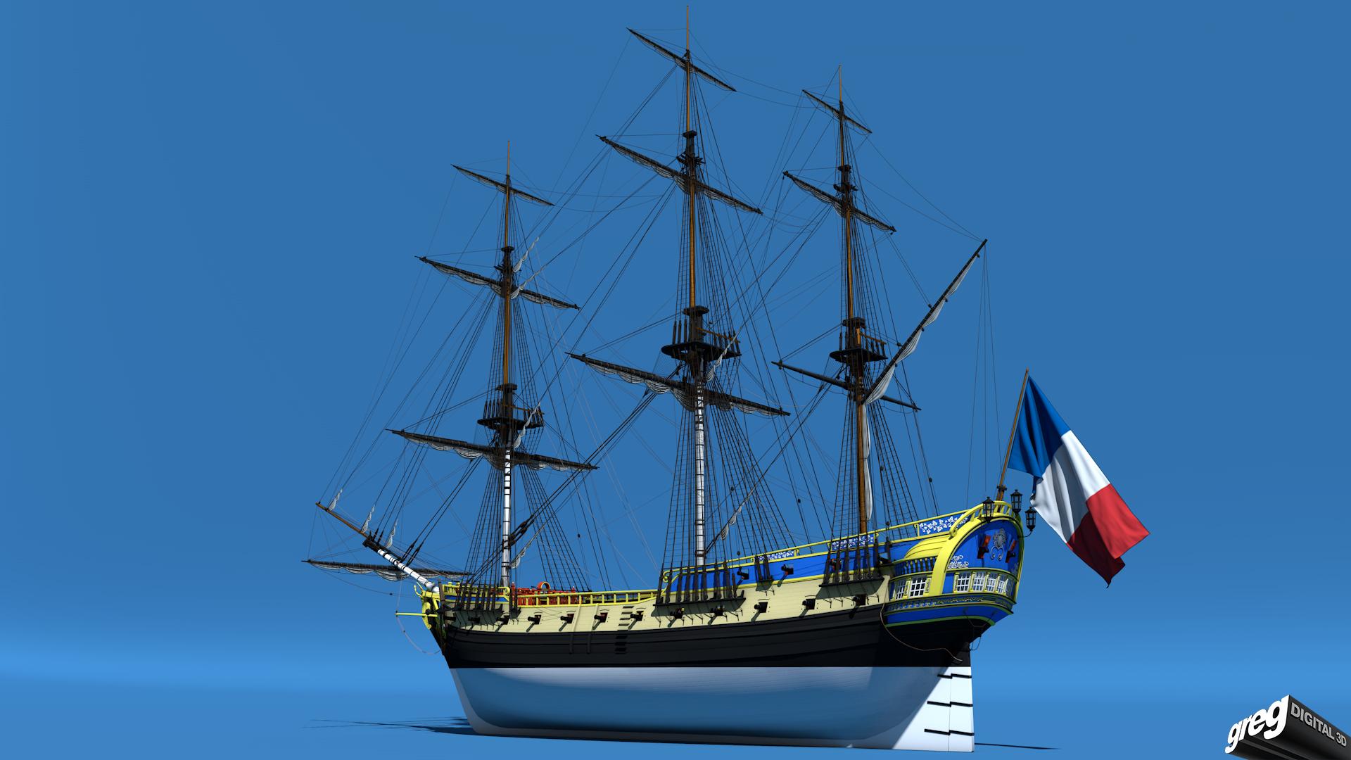 Frégate m'a première réalisation d'un navire en 3D. 134356Frgatestudio3