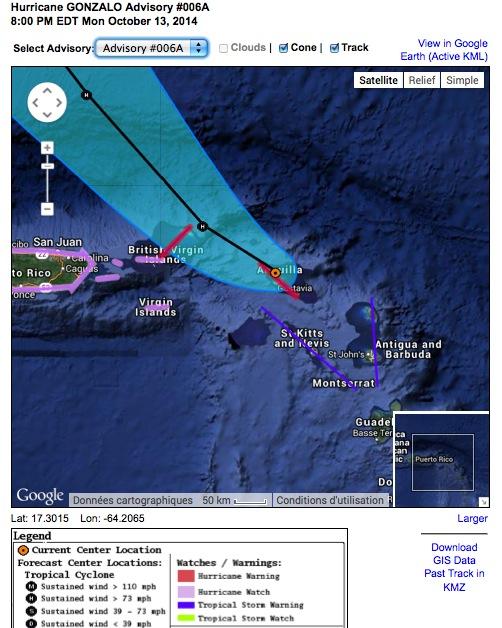 Cyclone GONZALO sur les îles du Nord des Antilles 158778Advisory6A