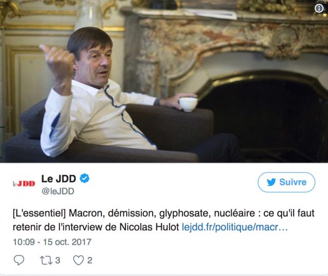 """Herbicide : Nicolas Hulot souhaite sortir du glyphosate """"le plus vite possible"""" 17518060nh"""