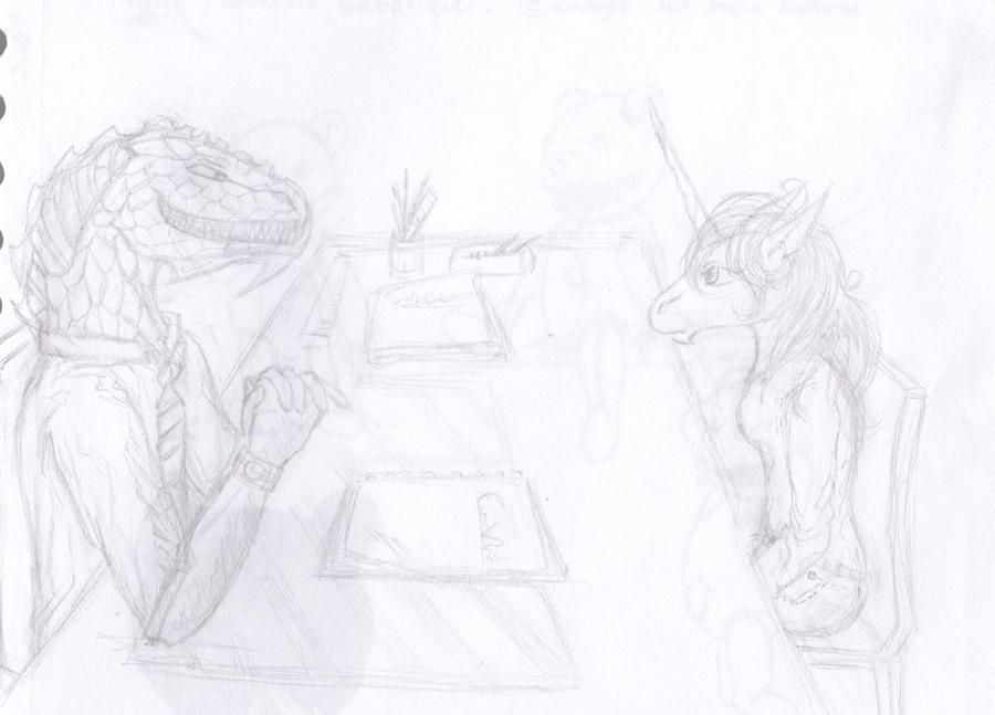 Dragons, chimères et créatures arc-en-ciel - Page 3 185360sketchentretiendragonlicorne