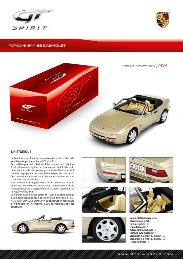GT Spirit ( miniatures au 1/18 et au 1/12 éme ) 192816GT002Spiritsheet944CabrioletCSFrench