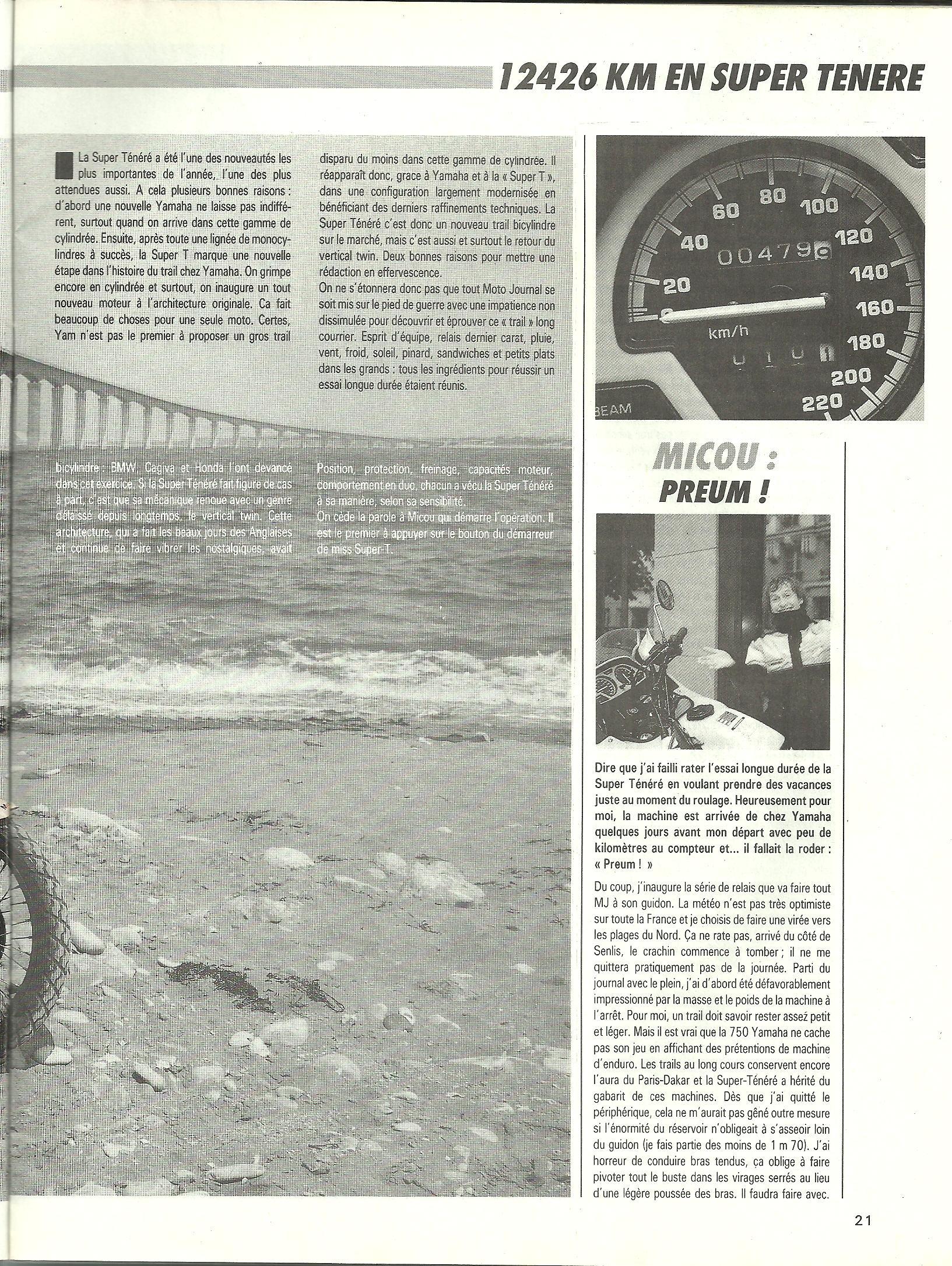 Essai longue durée 12'426km en Super ténéré 750 le 25 Mai 1989 196650p4001