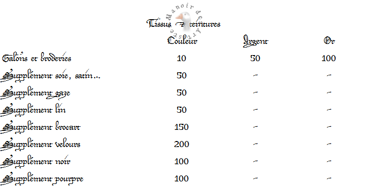 Grille des prix 239024tissusetteintures