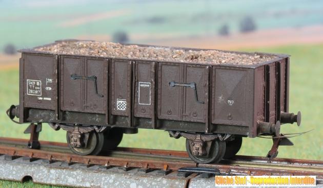 Wagons tombereau 2 essieux maquette chargés 258354VBtombereau2esspresspahfaonmtalchargballastIMG3430