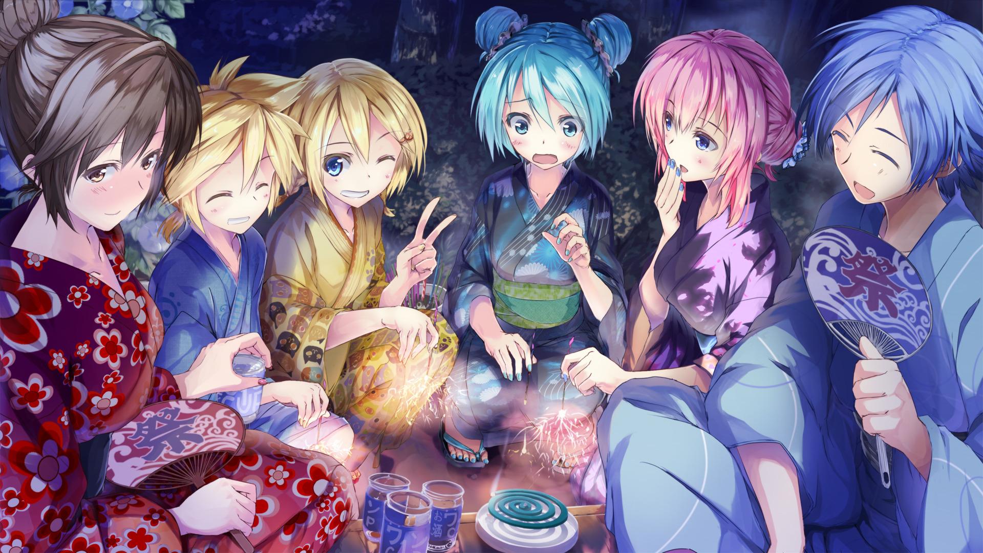 Header mangas coloré  322014hatsunemikumegurinelukakagaminerinkagaminelenkaitomeikolookjoysurpriseembarrassment