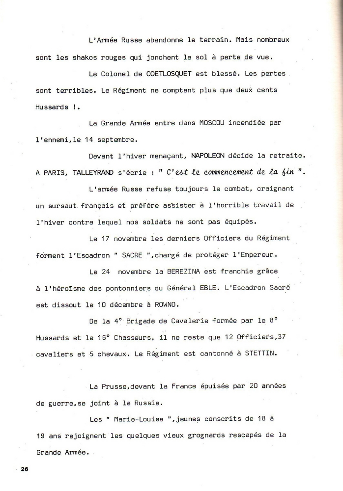 L'épopée Napoléonienne du 8 ème Régiment de Hussards  - Page 2 354694Historique8RHN26