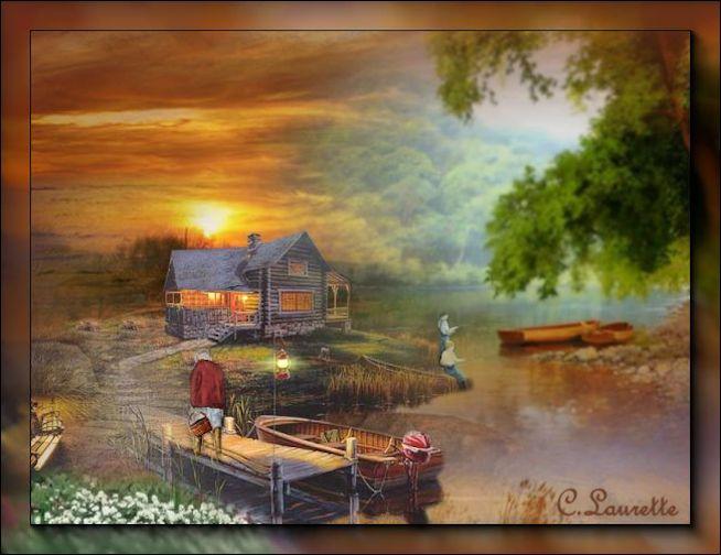 Soirée d'été au chalet(PSP/Coups de pinceaux) 363718Soirchaletchezcanelle
