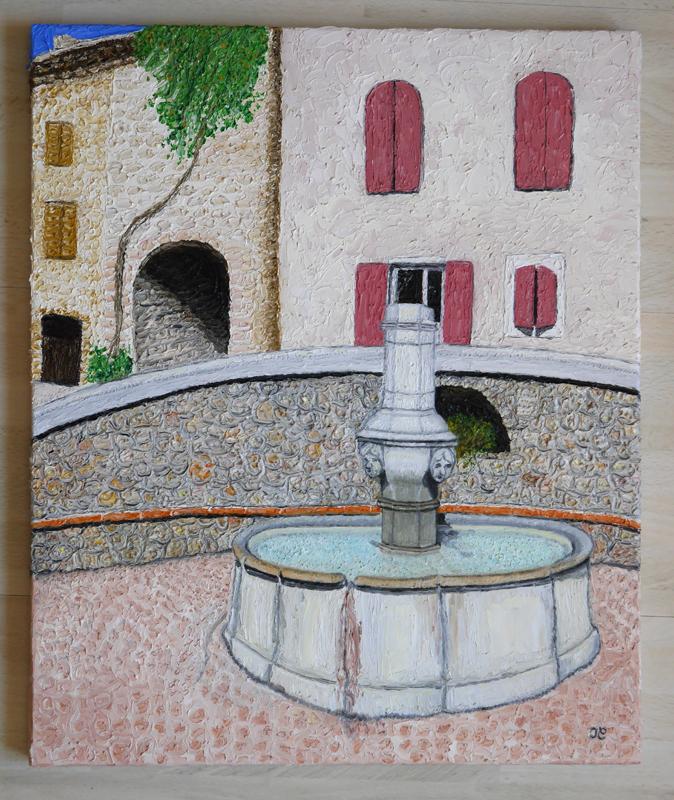 Une fontaine en Provence. (Huile) 403018Lafontainew