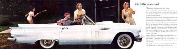 ford thunderbird 1955 au 1/16 de chez amt  406142brochure19570