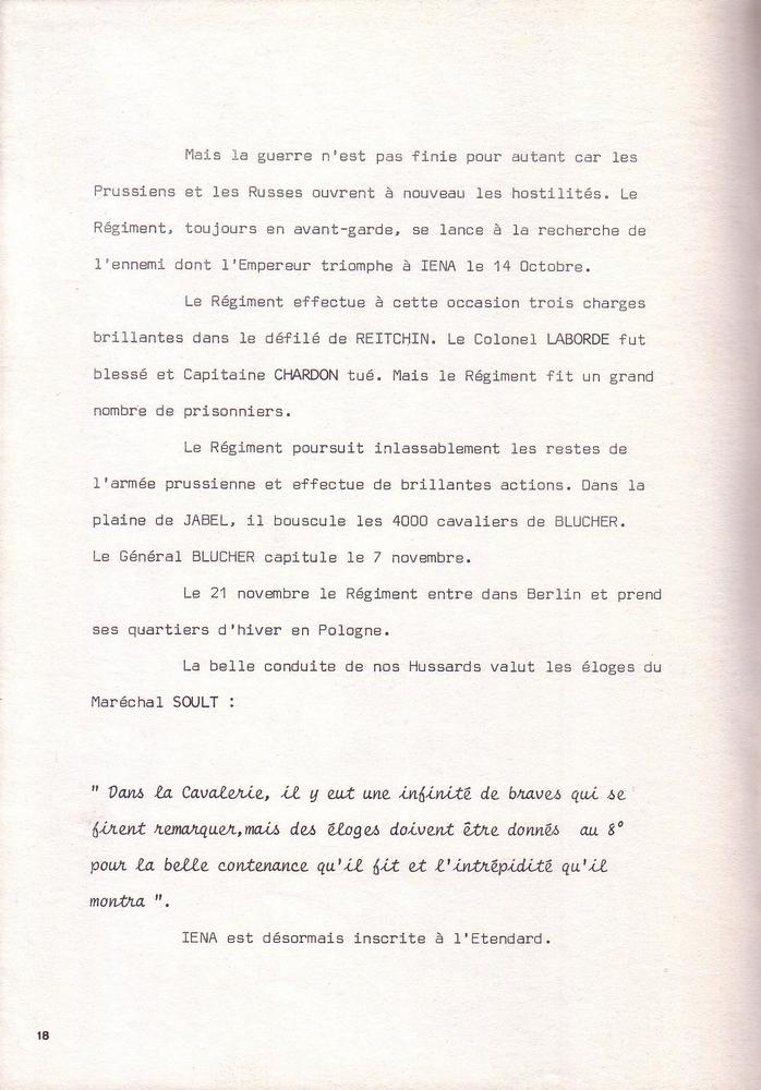 L'épopée Napoléonienne du 8 ème Régiment de Hussards  424772Historique8RHN18