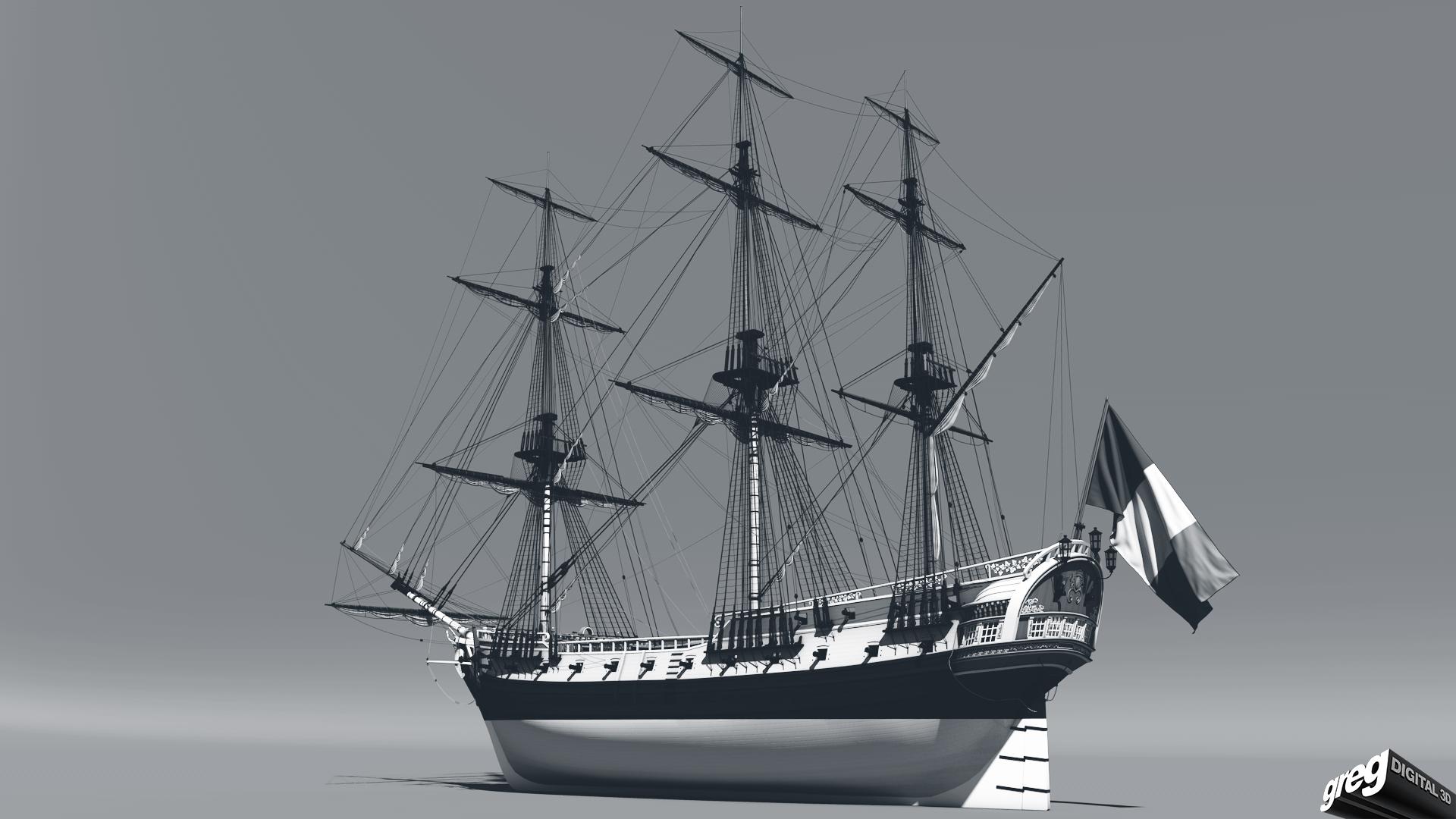Frégate m'a première réalisation d'un navire en 3D. 464251Frgatestudio3noir
