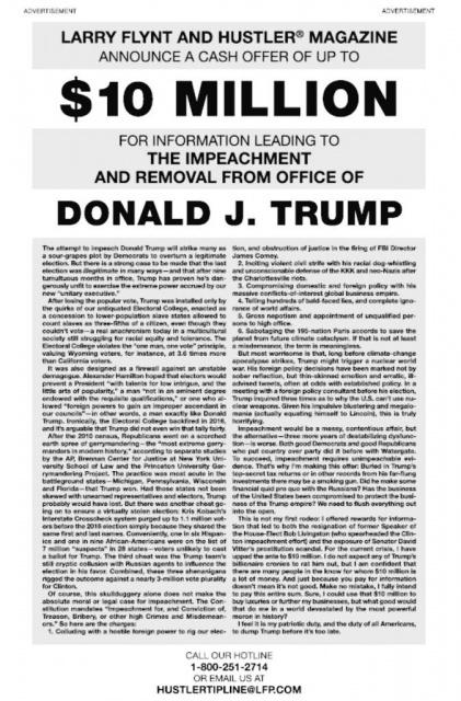 Le roi du porno Larry Flint offre 10 millions de dollars pour destituer Donald Trump 468633twe