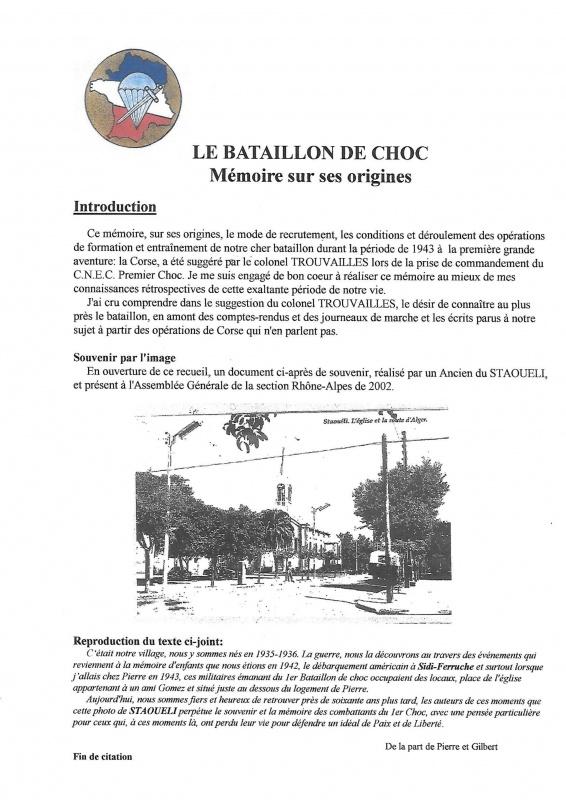 Le 1er Bataillon de Choc à STAOUELI en 1943  par Maurice DOUET (2002) 489020992