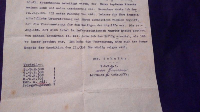 1° document identification/traduction papier du grenadier regiment 308  490499IMG20170123214035