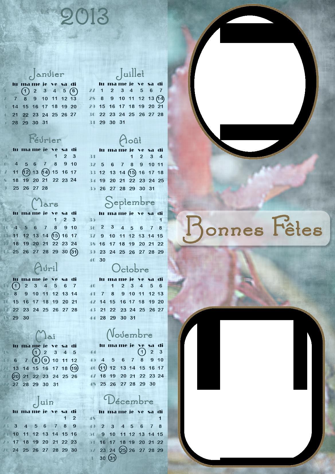 Calendriers marque-page année à personnaliser 493287Fleursbleucompltercopie