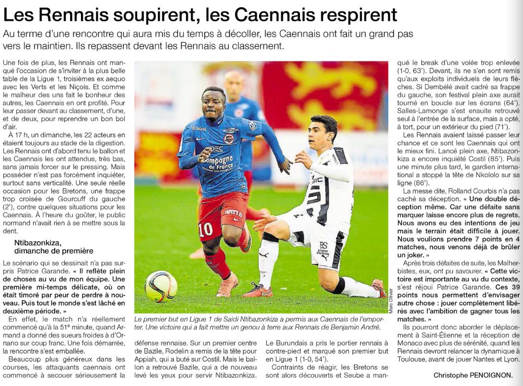 [27e journée de L1] SM Caen 1-0 Stade Rennais 495491rennes