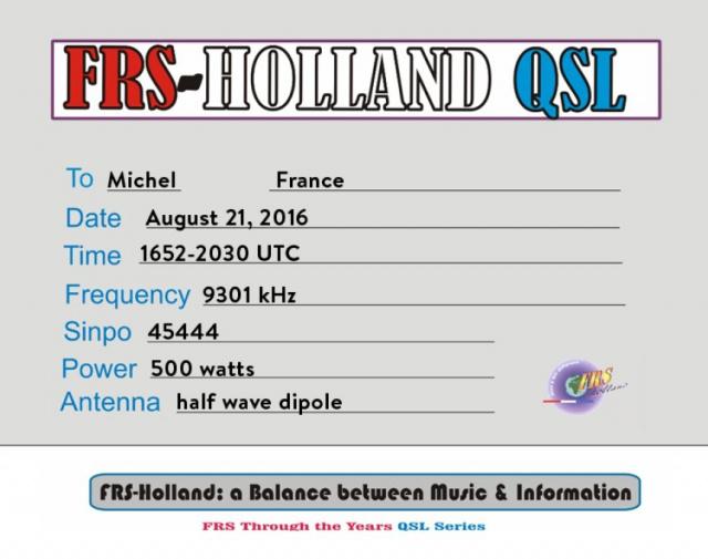 eQSL du Free Radio Service Holland 498577FRSH1