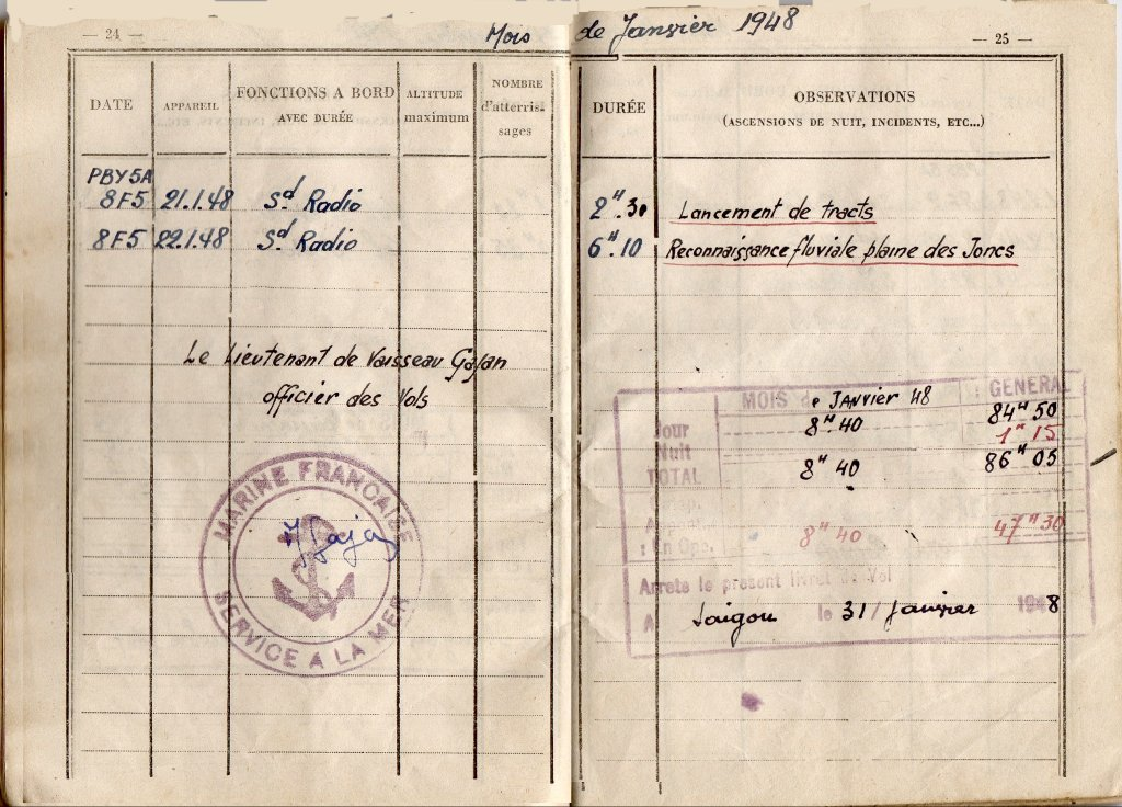 [ Aéronavale divers ] [ 1945-1950 L'histoire des grands oiseaux blancs à tête de loup noir en Indochine 514325194801