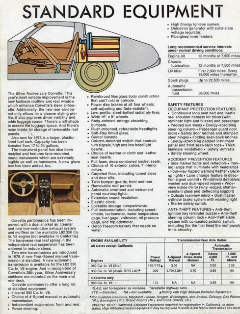 chevrolet corvette 25 th anniversary de 1978 au 1/16 - Page 2 515899brochurecorvette19781