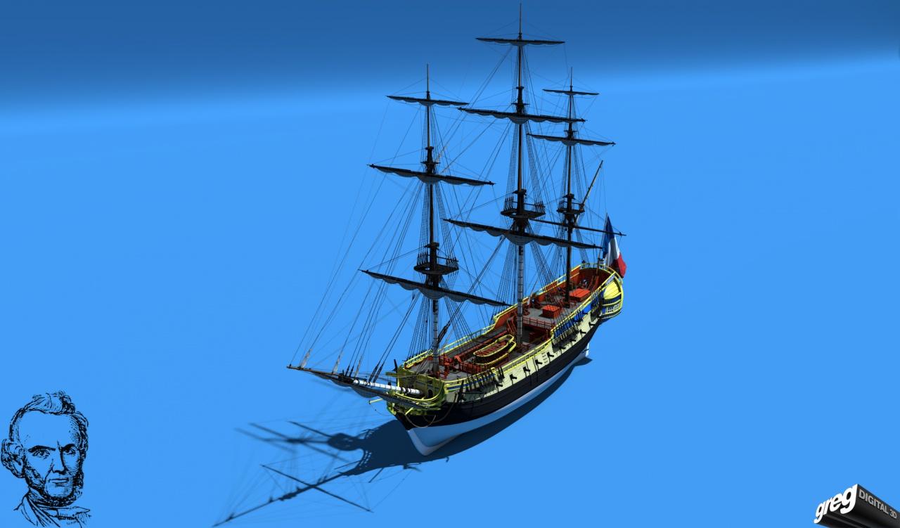 Frégate m'a première réalisation d'un navire en 3D. 526223Frgatestudio2