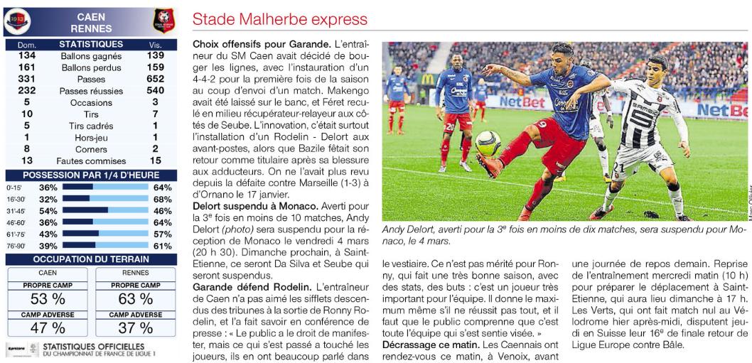 [27e journée de L1] SM Caen 1-0 Stade Rennais 561138rennes3
