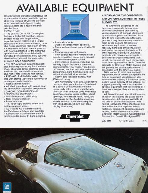 chevrolet corvette 25 th anniversary de 1978 au 1/16 - Page 2 610738brochurecorvette19782