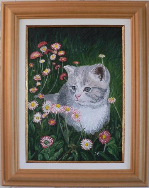 Le chat dans un champ de marguerites. (Huile) 627771Chat900