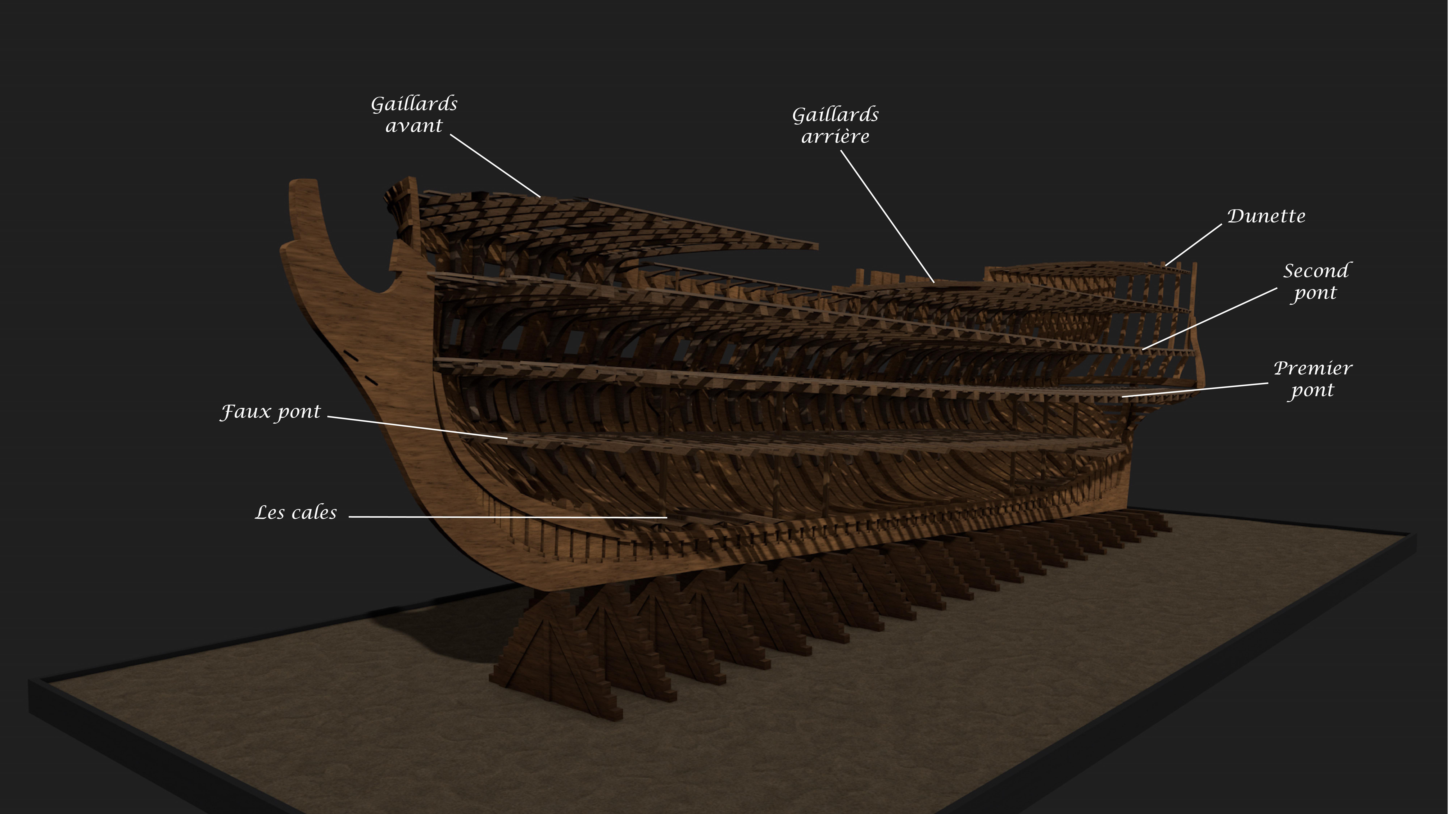 Etapes de construction 3D d'un navire de 74 canons. 679059Squelette5