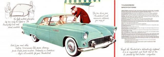 ford thunderbird 1955 au 1/16 de chez amt  688400brochure19555
