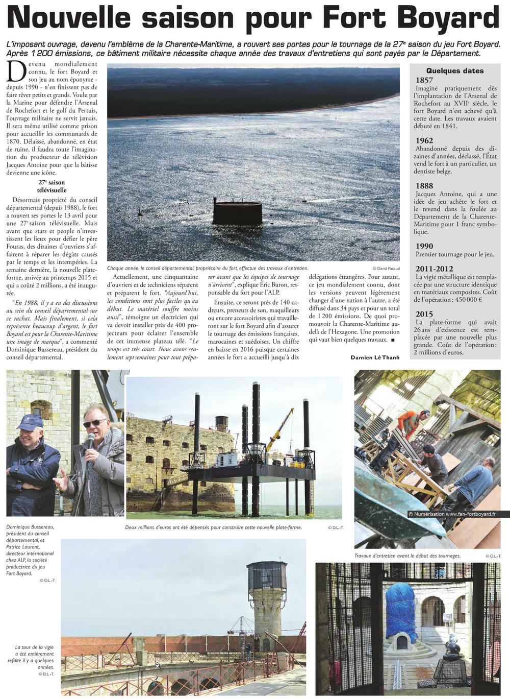 Travaux 2016 au Fort Boyard : Création d'un 2e accès depuis la plate-forme - Page 3 713287lelittoral29042016Copie