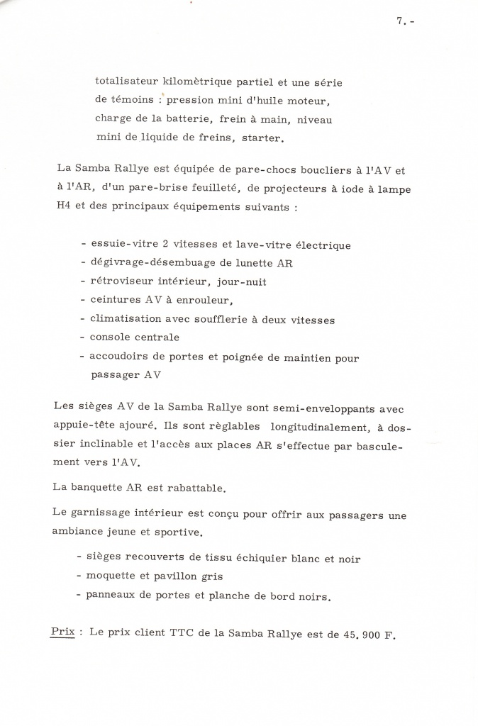 Dossier de presse Talbot Samba Rallye (septembre 1982) 716077a0010
