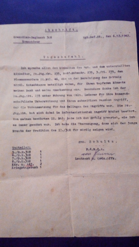 1° document identification/traduction papier du grenadier regiment 308  727328IMG20170123214005
