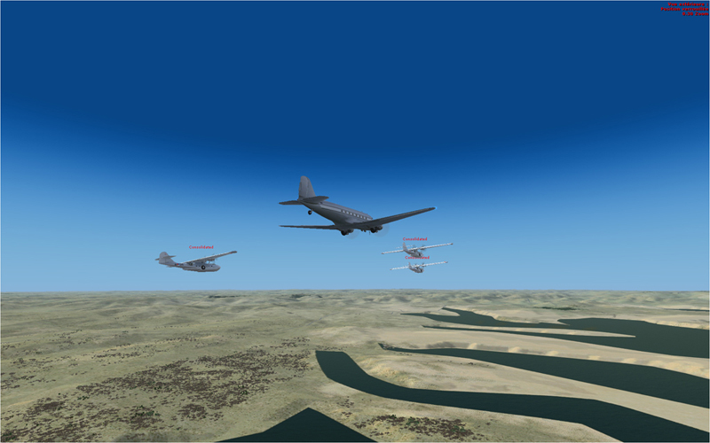 Vol en formation en Afrique (DC3) 7309372013222214225157