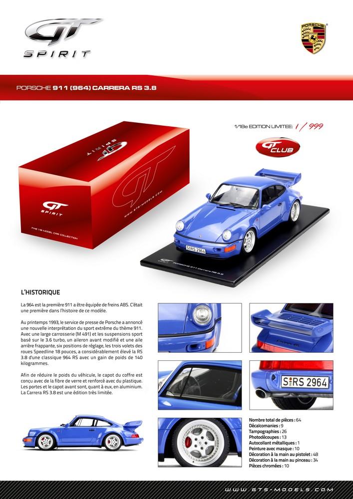 GT Spirit ( miniatures au 1/18 et au 1/12 éme ) 742764GT003Spiritficha964CarreraRS38ZMFrench