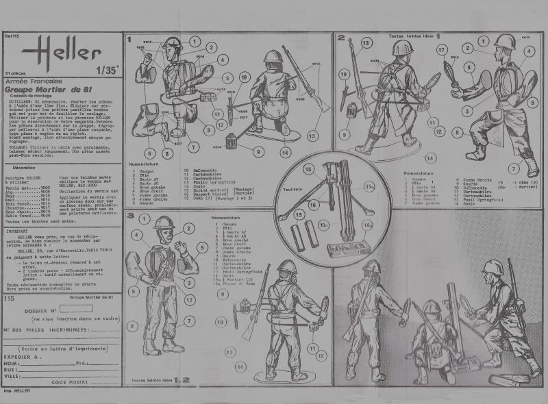 Groupe de Combat Français (réf.115) Groupe Mortier 81 1/35 803344Heller115135002GroupedeCombatFranceGroupeMortier81