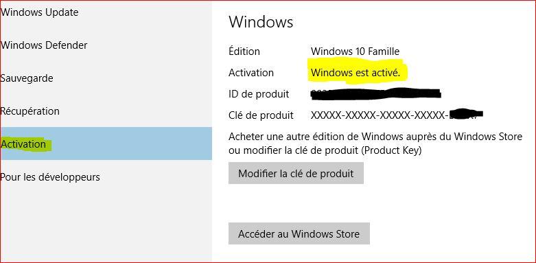 Clé activation windows10 803410172