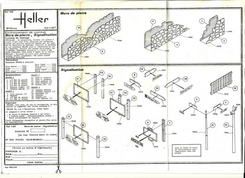 Equipement de Combat (Réf.140) Murs de Pierre & Signalisation 1/35 803694Heller140EDCMursdepierre002