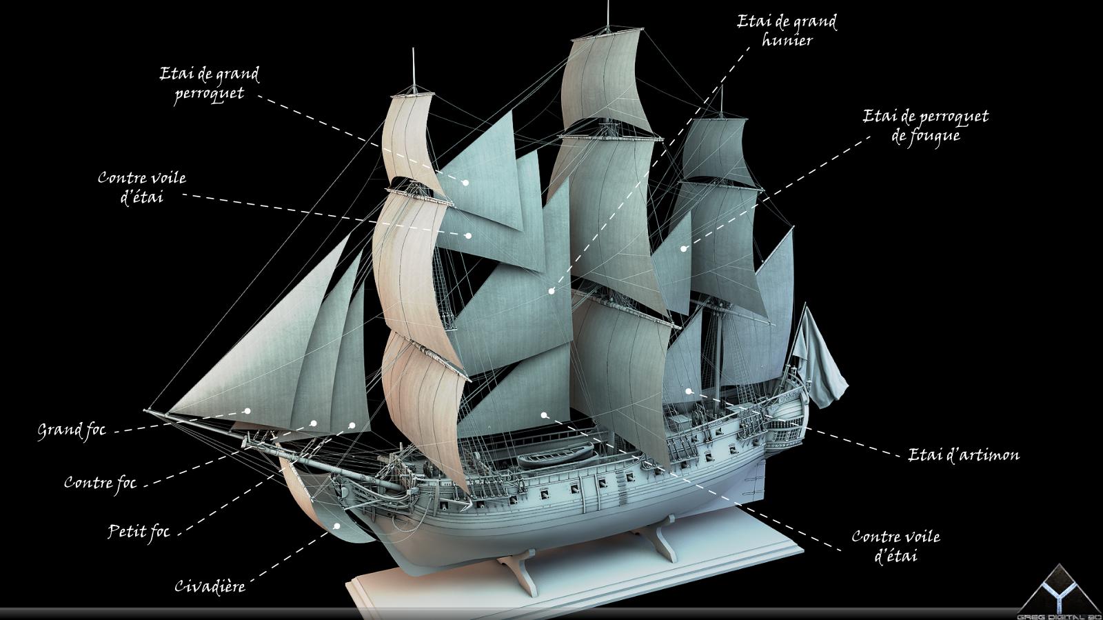 Frégate m'a première réalisation d'un navire en 3D. - Page 6 814379FrgatelightroomR16voiles2