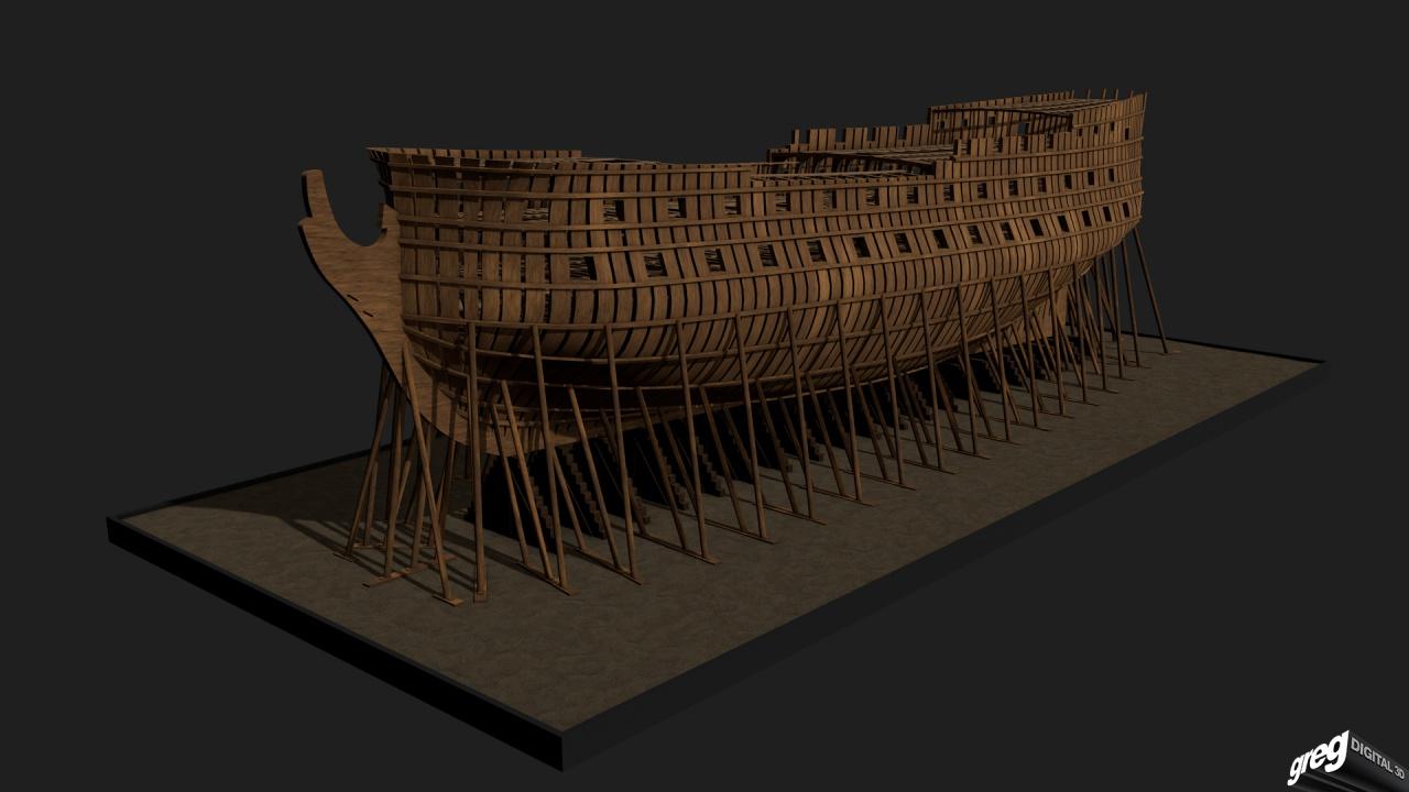 Etapes de construction 3D d'un navire de 74 canons. 826486squelettenavire74