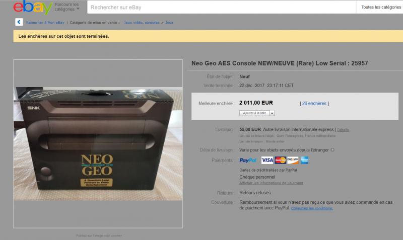une neogeo aes neuve en vente sur ebay 832395neoneuve