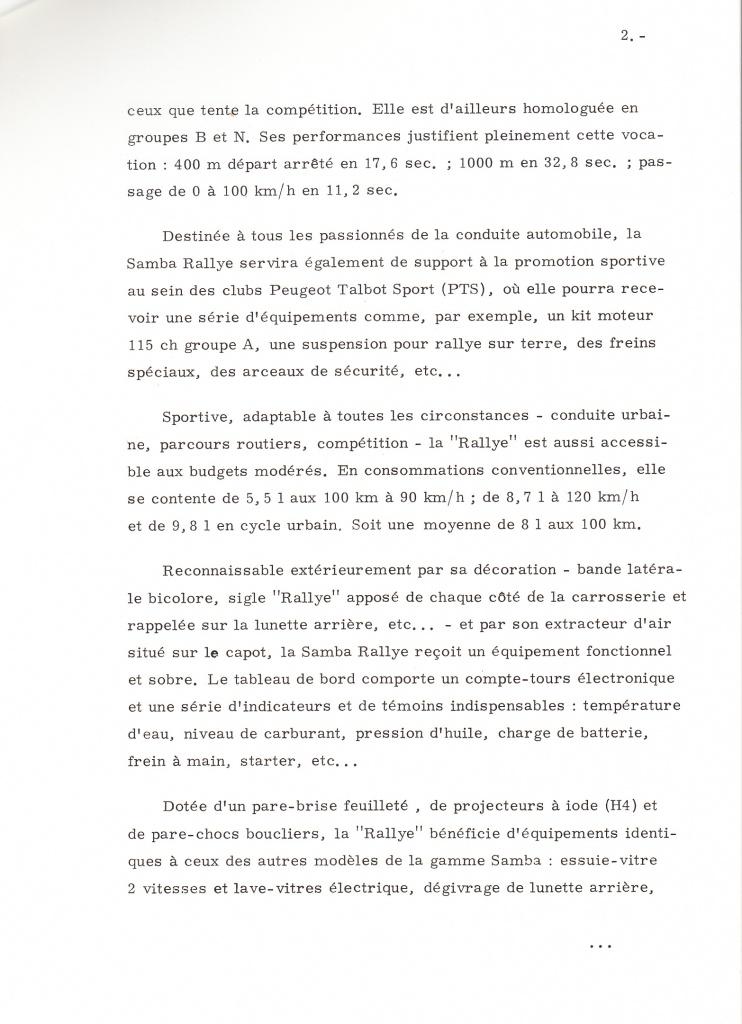 Dossier de presse Talbot Samba Rallye (septembre 1982) 842954a0002