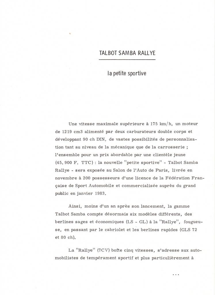 Dossier de presse Talbot Samba Rallye (septembre 1982) 845066a0001