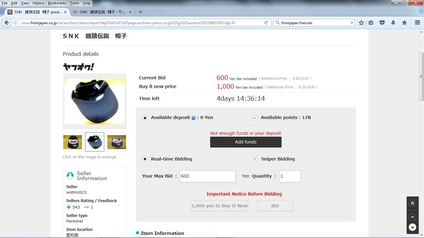 Commander sur Yahoo auction via un site proxy(intermédiaire) 875664enchre