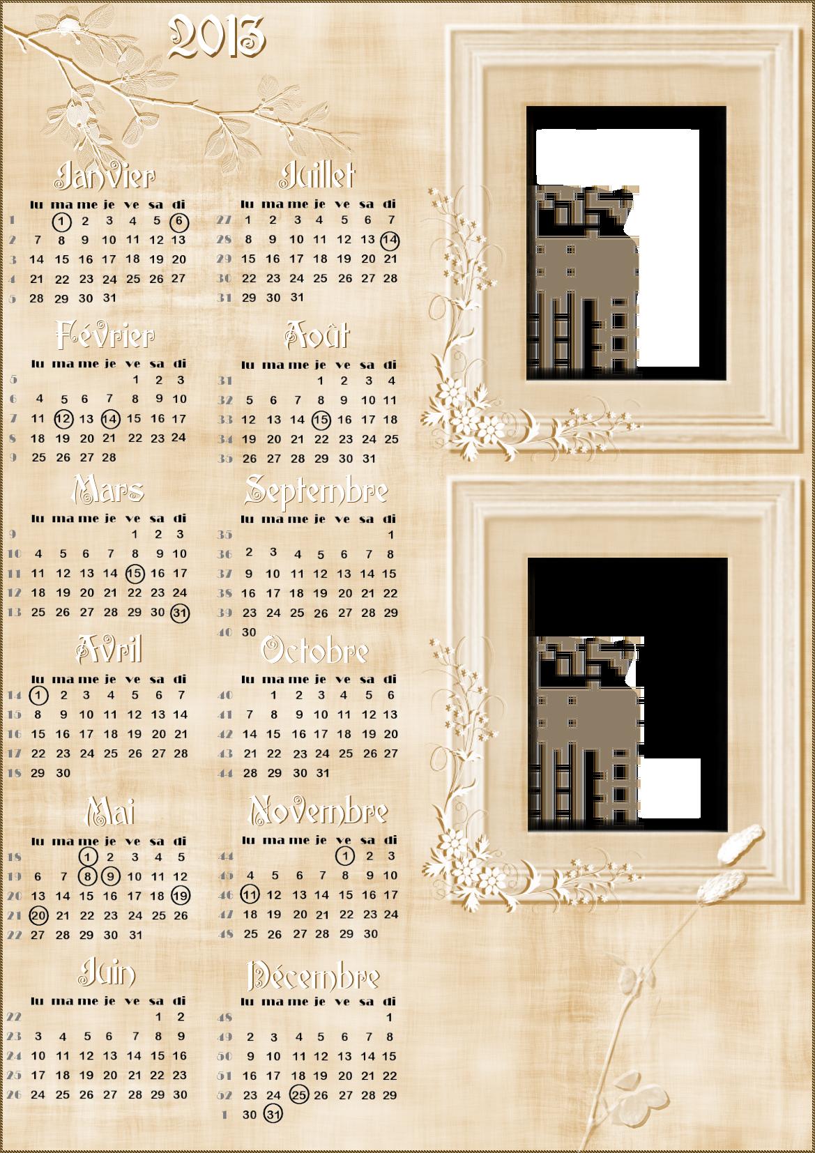 Calendriers marque-page année à personnaliser 896404Romantiquecompltercopie