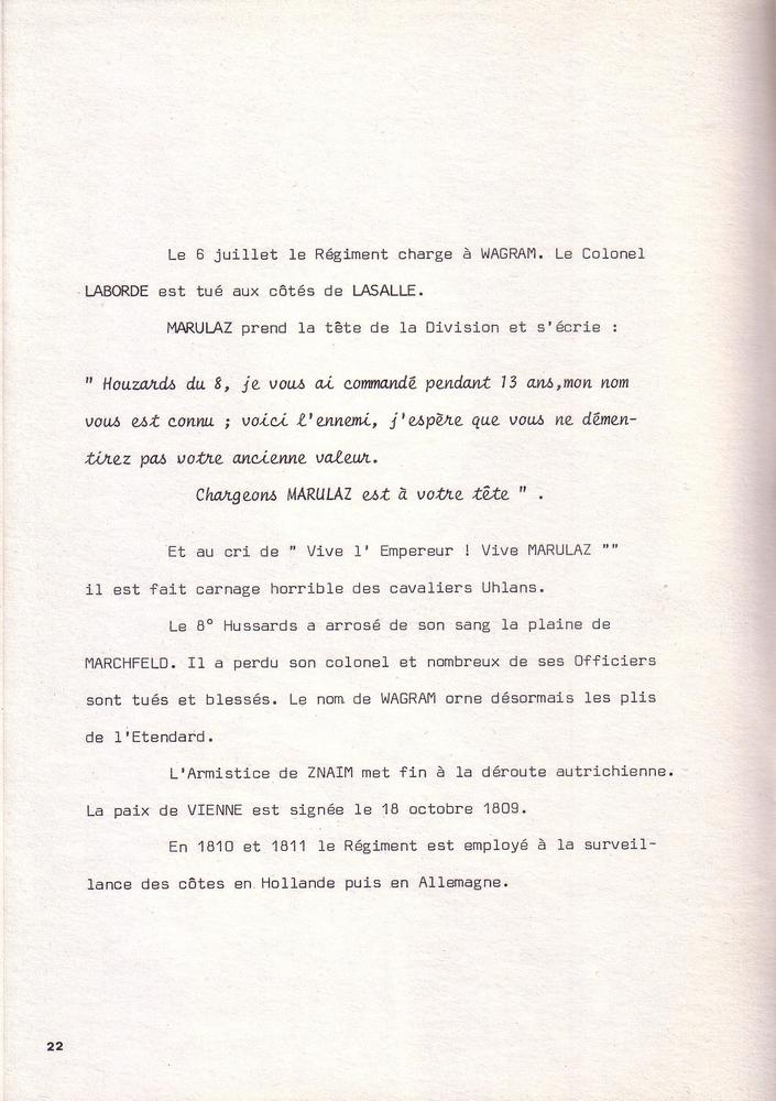 L'épopée Napoléonienne du 8 ème Régiment de Hussards  910799Historique8RHN22