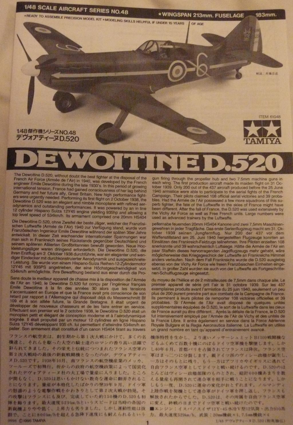 Dewoitine D.520 édition spéciale 1/48 Tamiya 911337D52003