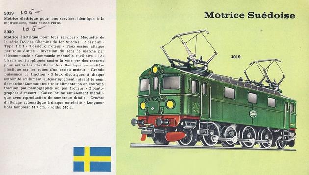 Coffret du centenaire de la traction électrique des C.F. suédois 924525Marklincatalogue1960p15